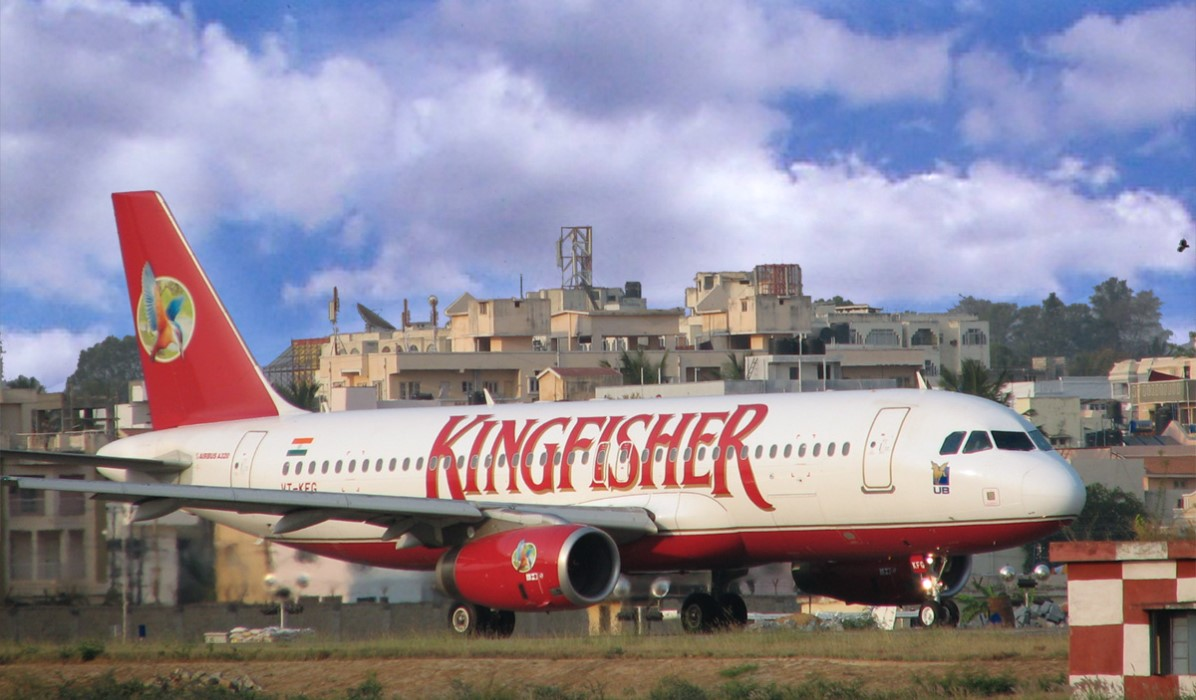 Kingfisher Airbus A320 at the HAL airport