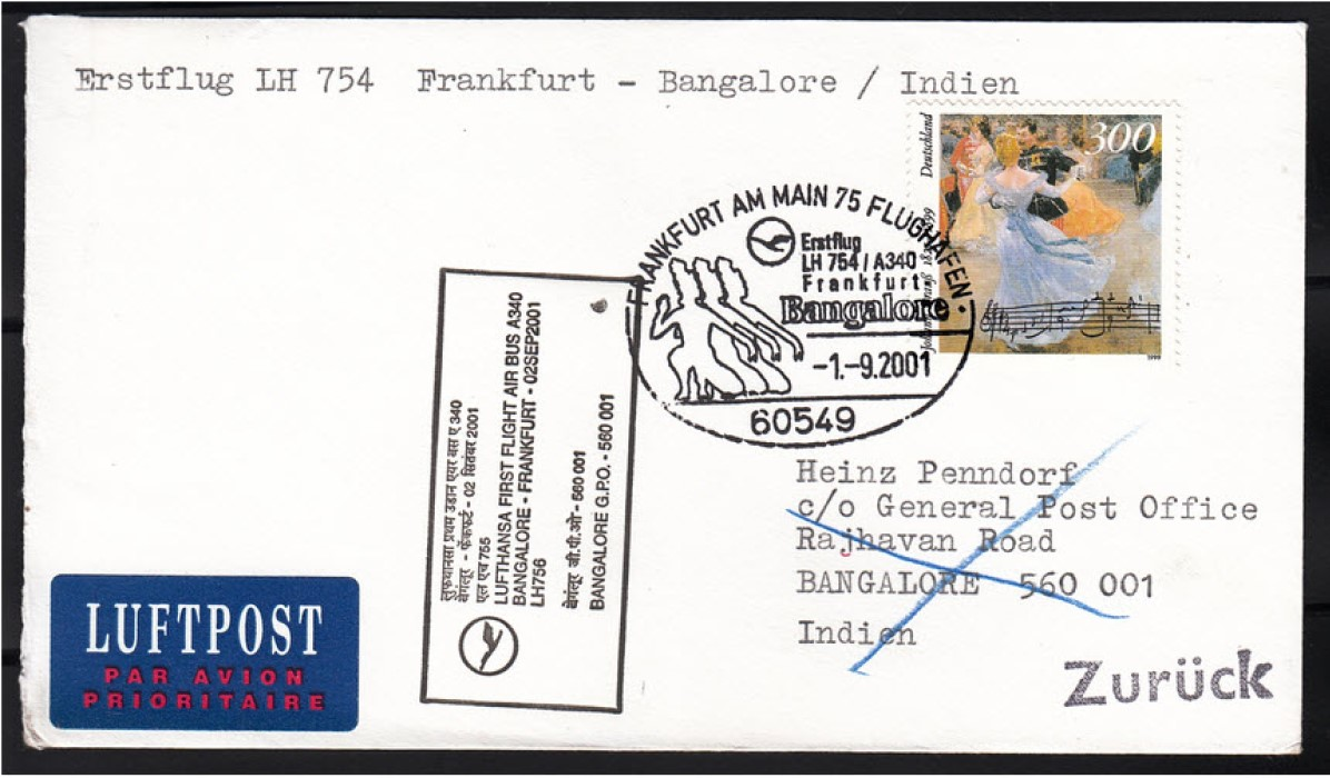 First flight cover issued to commemorate Lufthansa flight in August 2001 Image: CollectorBazar.com