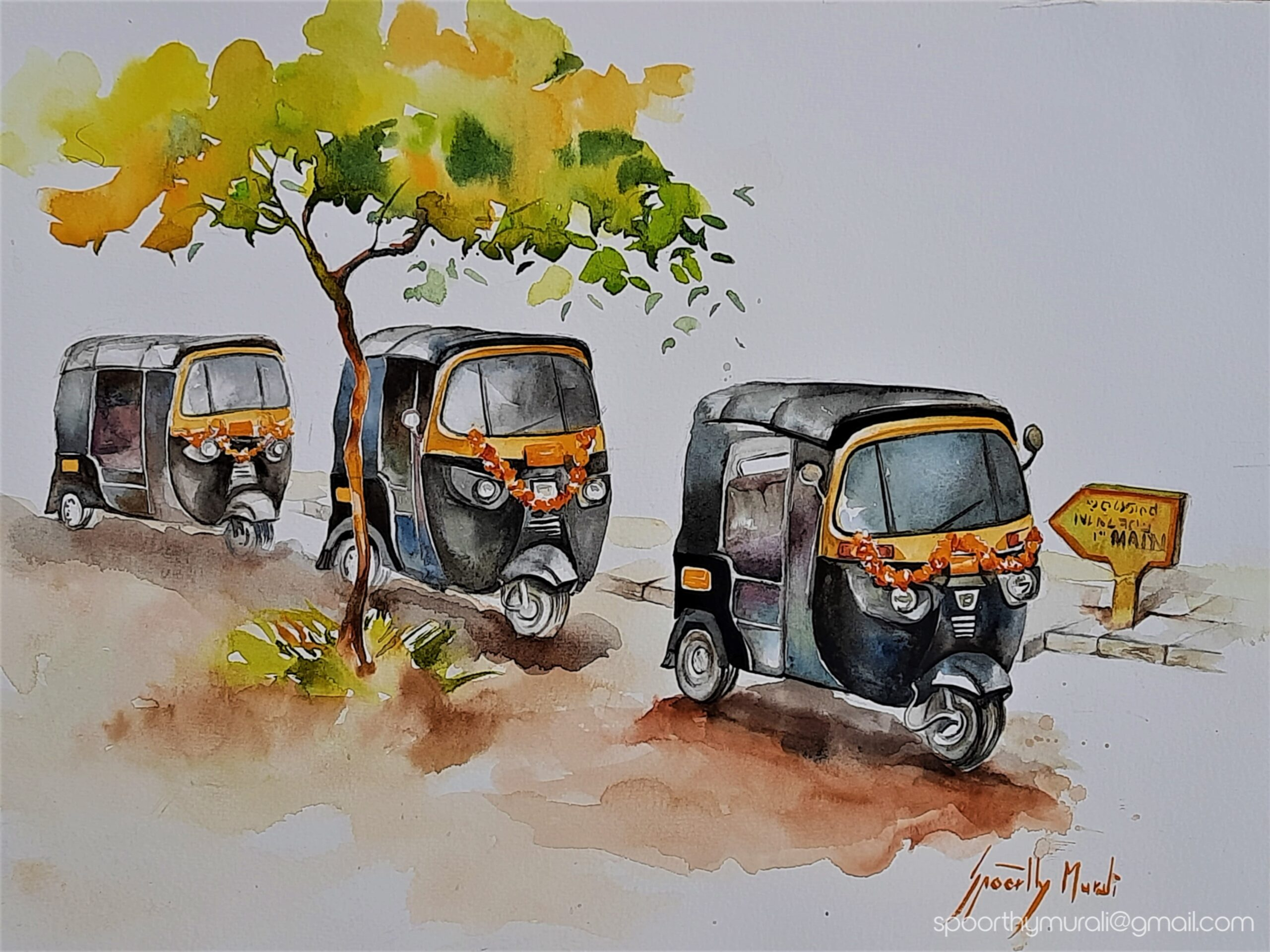 Festooned Autorickshaws in Watercolour