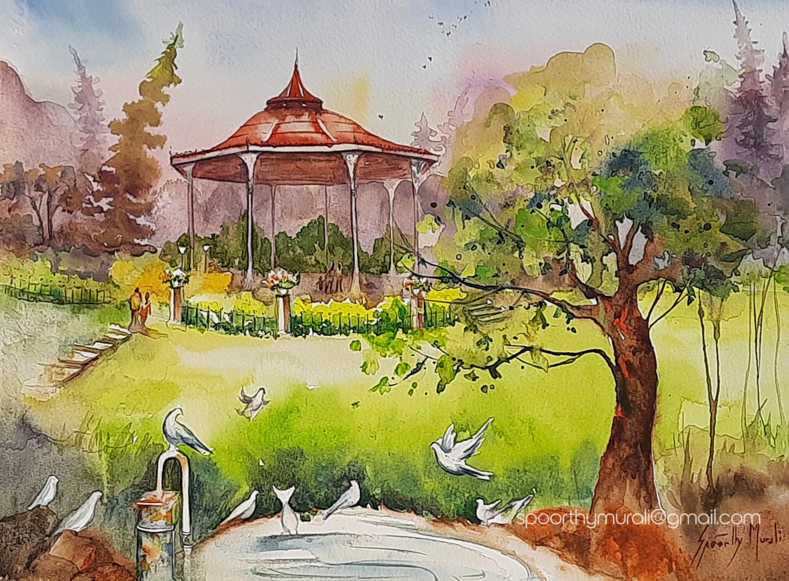 Lalbagh Band Stand in Watercolour