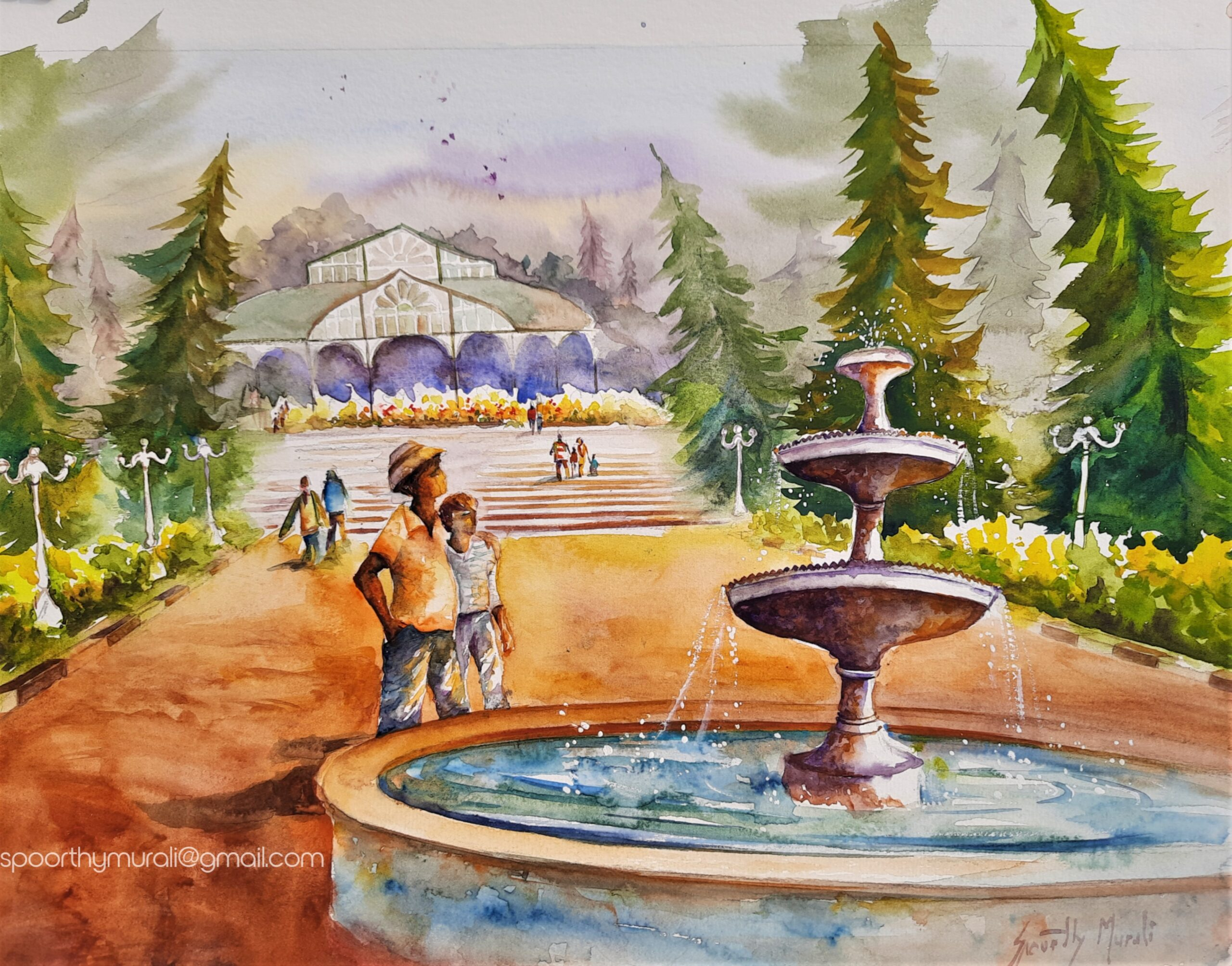 Lalbagh Glass House in Watercolour
